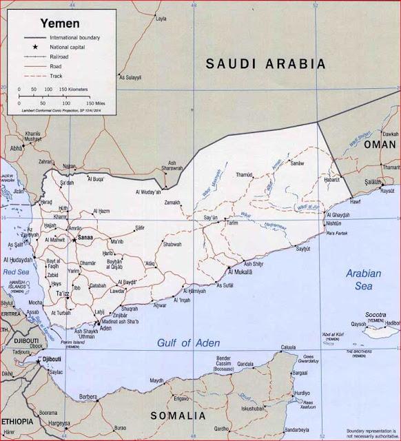 Gambar Peta politik Yaman