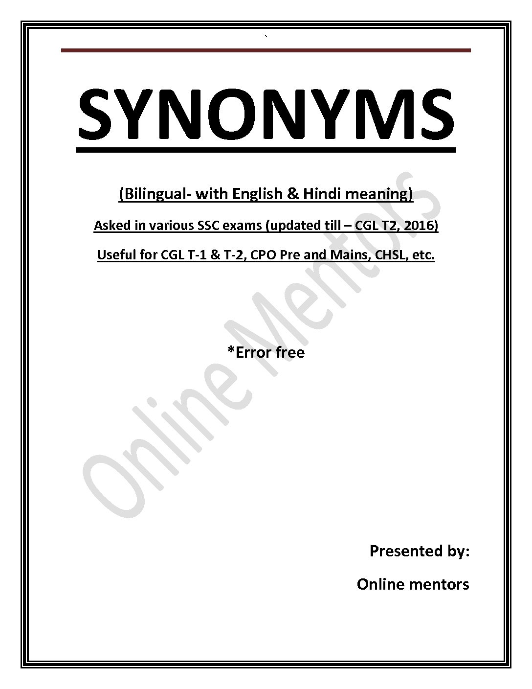 SYNONYMS (Bilingual- with English & Hindi meaning) Asked