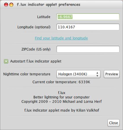 F.lux - Aplikasi Linux untuk Mengubah Brightness Secara Otomatis