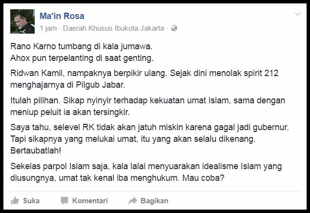 """Nasihat Ustadz Ma'in Rosa Untuk Ridwan Kamil: """"Bertobatlah... Jangan Lukai Umat"""""""