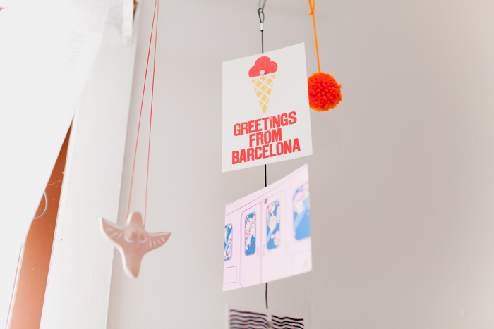 hanging postcards decor