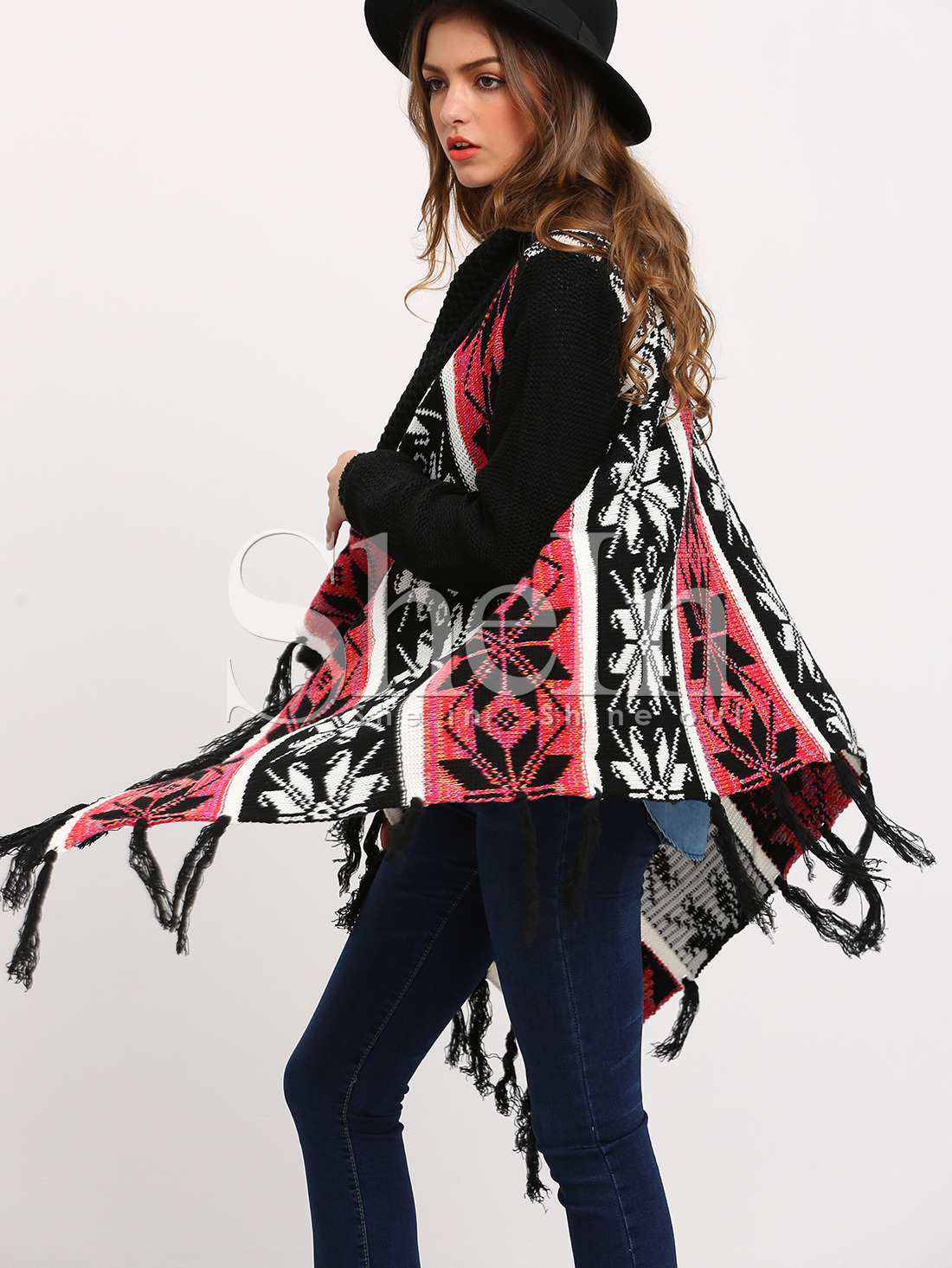 Multicolor Long Sleeve Geometric Print Tassel Sweater
