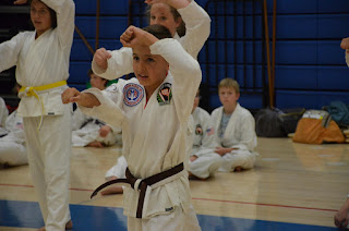 Karate students learning discipline through martial arts teaching