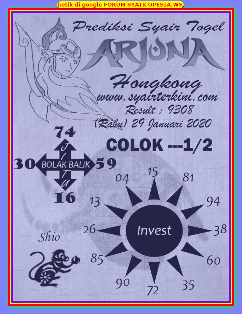 Kode syair Hongkong Rabu 29 Januari 2020 110