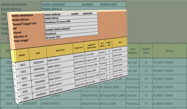 Aplikasi Keterangan Siswa Aktif Format Excel Tanpa Proteksi
