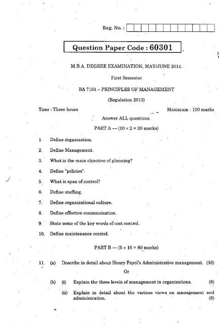 BA7101 PRINCIPLES OF MANAGEMENT May June 2014 Question ...