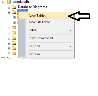 Create Table in Sql Database