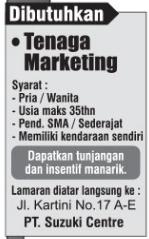 Dibutuhkan Segera Untuk PT. Suzuki Centre Bandar Lampung Mei 2018