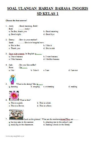 Soal Latihan Ulangan Harian Bahasa Inggris untuk SD Kelas 1 Dilengkapi dengan Kunci Jawaban