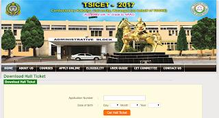 TS ICET 2017 Hall Tickets www.teacher4us.com