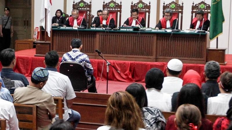 Suasana saat hakim membacakan vonis untuk Ahok