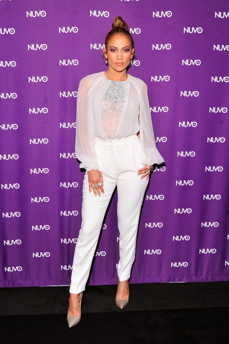 Jennifer Lopez in Zuhair Murad at the 2014 NuvoTv Upfronts