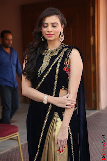 Priyanka Ramana in Beautiful Designer Black Saree At We Craft Elegance Expo Launch 057.JPG