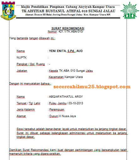 Contoh Format Surat Rekomendasi Untuk Siswa Yang Berusia 55