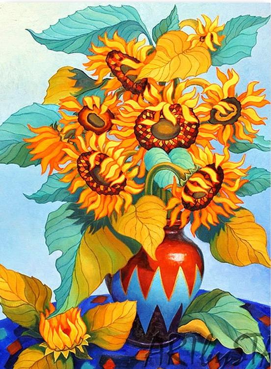 Cuadros Modernos Pinturas y Dibujos  Bodegn de Girasoles Para