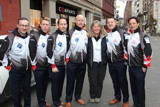 Janie joins Team Canada curlers in Basel, Switzerland. Photograph of Janie Robinson, Travel Writer