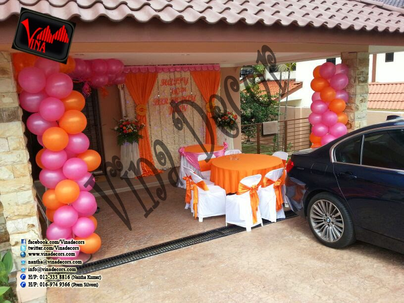 Happy 60th Birthday Decoration With Paper Lantern Orange And Pink Simple Backdrop By Vina Canopy Decor
