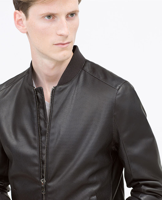 Áo khoác da nam Zara Faux Leather Bomber Jacket