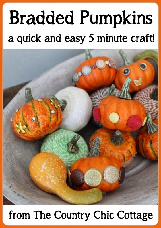 Bradded Pumpkins -- a 5 minute way to update fake or real pumpkins.  Just insert brads by pushing!  So simple!  Click to see a variety of ways to decorate pumpkins with brads.