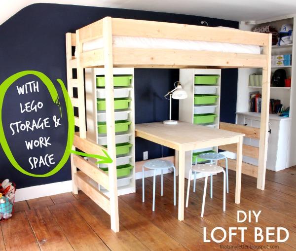 diy loft bed with lego storage
