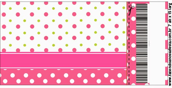 Pink, Green and White Polka Dots  Ticket  Invitation.