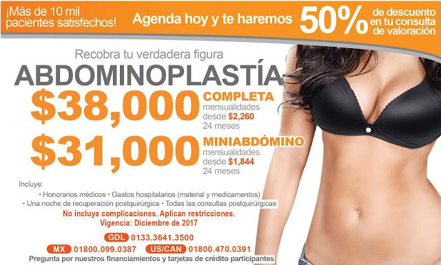 recio Paquete Cirugia Plastica Abdomen Abdominoplastia Lipectomia Guadalajara Mexico