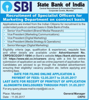 SBI SO Recruitment 2017 Specialist Officer Apply Online Form