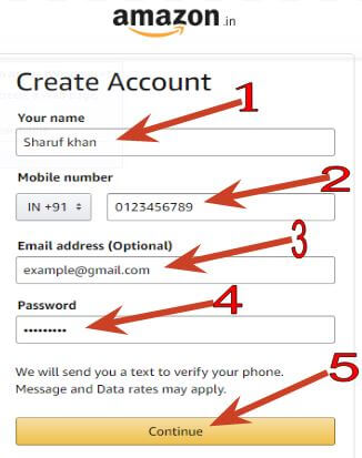 mobile and email id enter kare