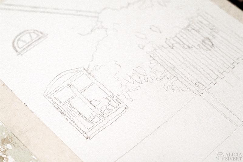 aliciasivert alicia sivert sivertsson hus husmålning måla måleri akvarell aquarelle watercolor watercolour water color colour vattenfärg fasad husfasad ljusgrön ljusgrönt grön grönt staket stängsel blåregn lila blommor växt växter skapa skapande kreativitet konst present beställa beställning konst art lund