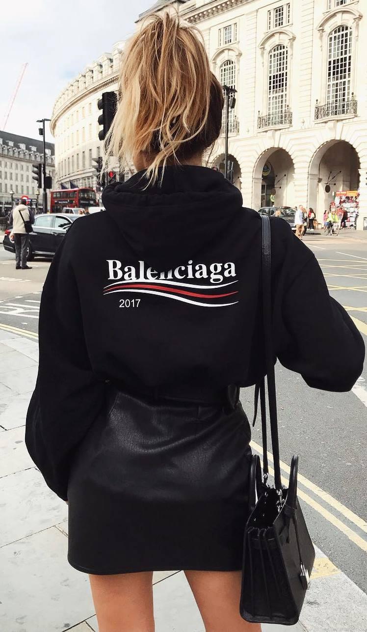 all black everything | sweatshirt + bag + skirt