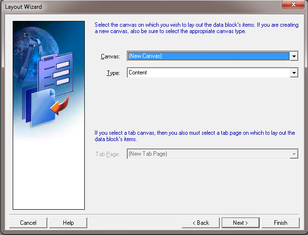 How to Create Oracle Forms by Using Wizard ? - Create Canvas