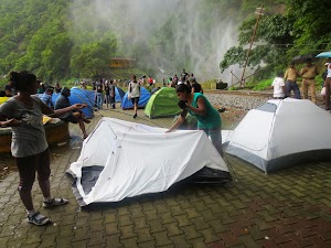 Preparing tents at Dudhsagar waater falls camping site
