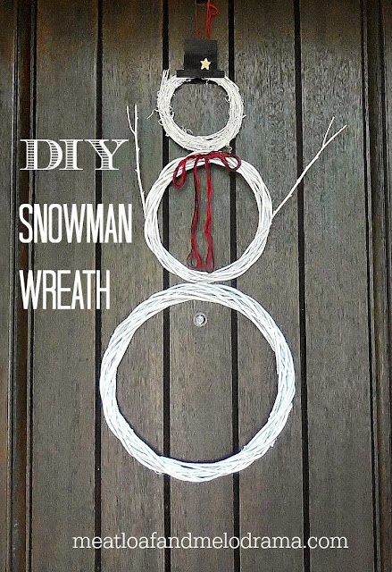 white snowman wreath made from grapvine and bamboo wreath