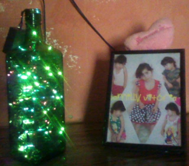DIY de Natal - Garrafa decorada com Luzes