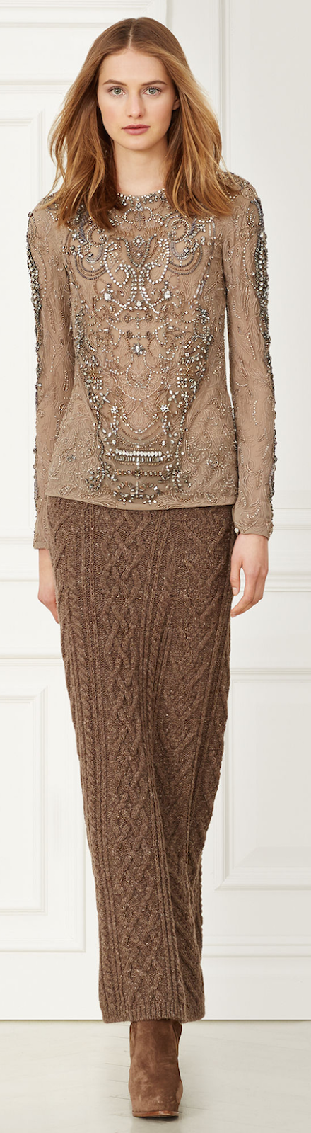 RALPH LAUREN CHARLENE BEADED TOP BRONZE