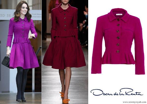 Kate Middleton wore Oscar de la Renta burgundy jacket and pleated skirt