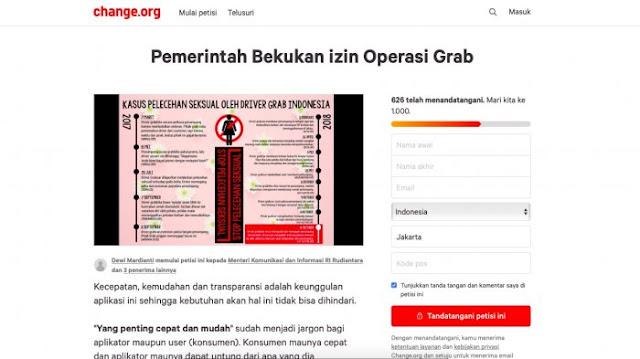 Buntut Kejadian Pelecehan Seksual, Netizen Gelar Petisi Tuntut Grab Dibekukan