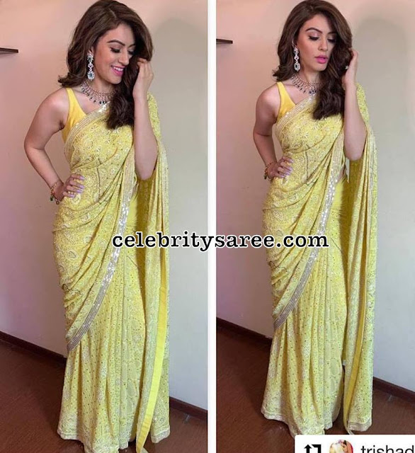 Hansika Motwani in Lemon Yellow Mirror saree