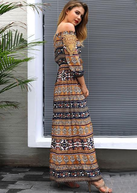 Floral Tassel Off Shoulder Maxi Dress