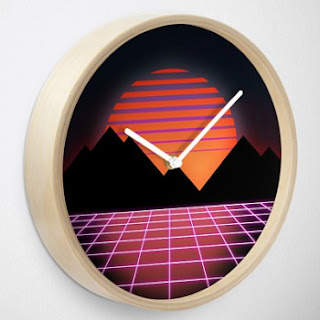 80s Sunset and Grid Clock