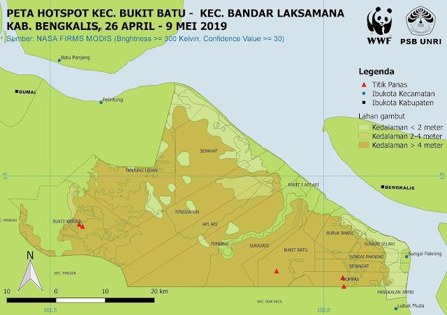 Peta Hotspot di Kec. Bukit Batu dan Kec. Bandar Laksamana Pada 26 April - 9 Mei 2019