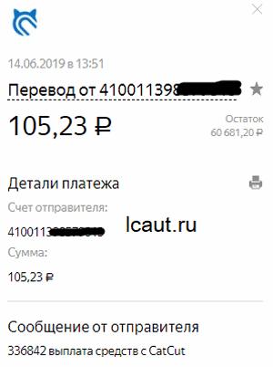 Выплата 105,23 рублей