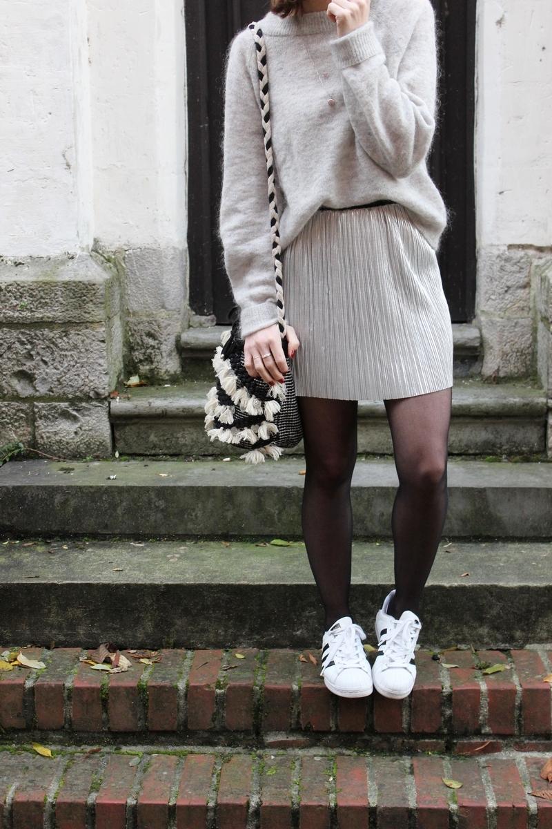 jupe-plisée-argenté