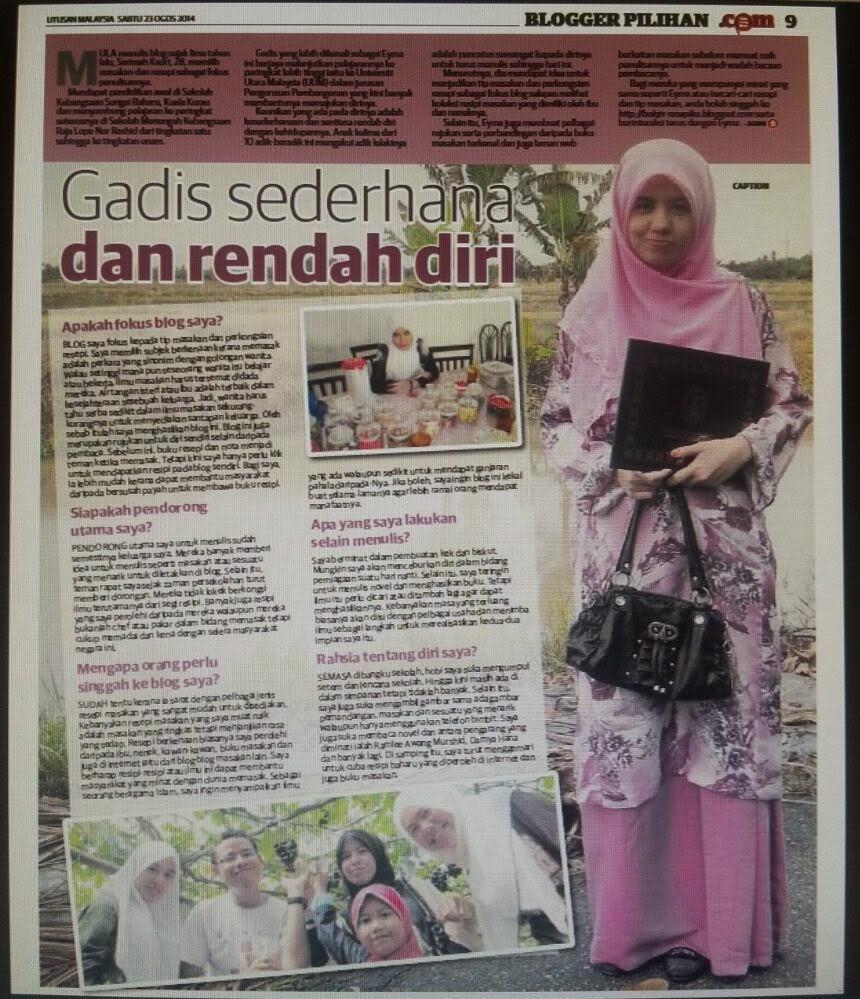 Blogger Pilihan di Utusan Malaysia 23 Ogos 2014