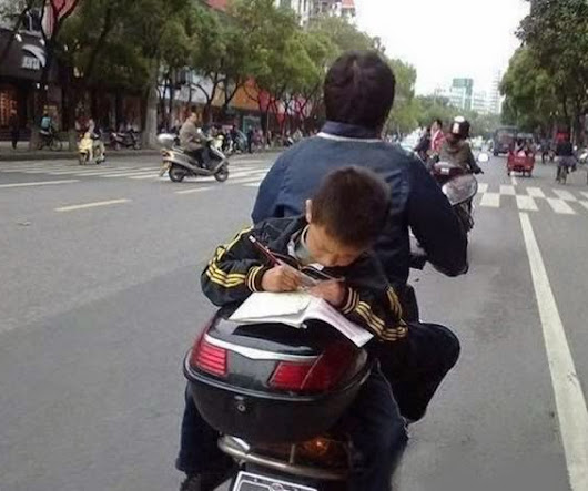 kid studying on bike