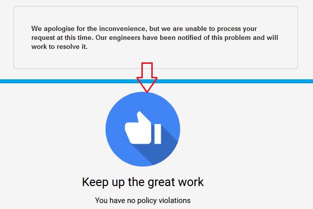 adsense policy center error message