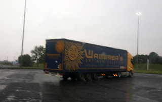 Waberer's truck in the rain