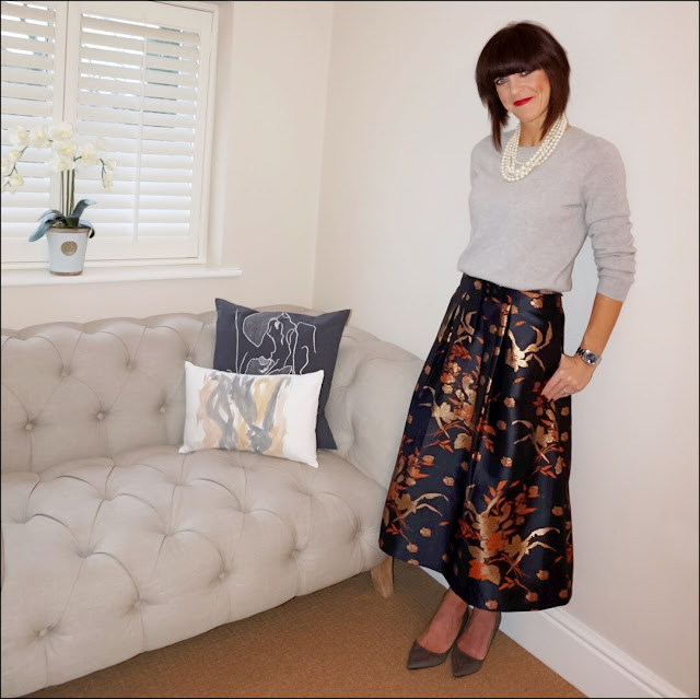 My Midlife Fashion, J Crew pearl twisted hammock necklace, marks and spencer pure cashmere crew neck jumper, marks and spencer jacquard a line skirt, zara court shoes