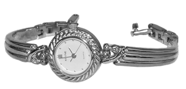 A silver bracelet band watch with larger face.