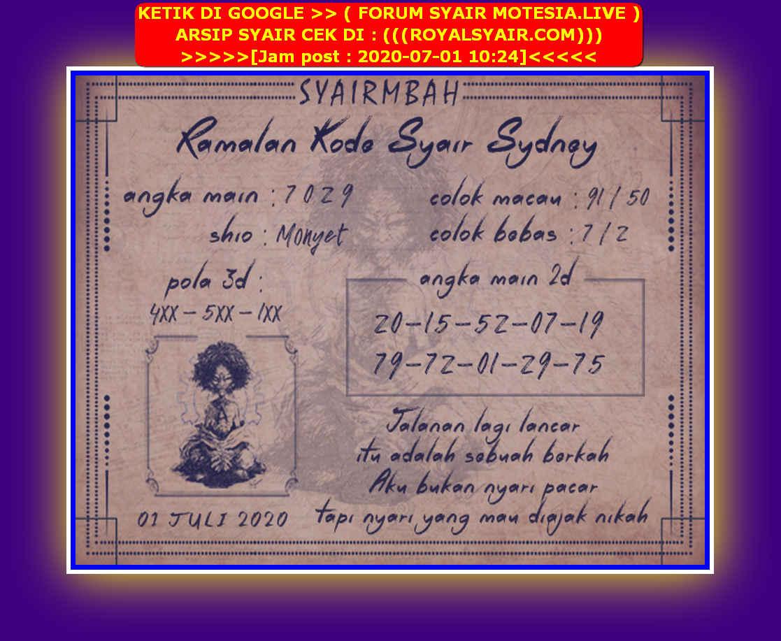 Kode syair Sydney Rabu 1 Juli 2020 32